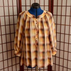BCBG Max Azria Silk Plaid Top